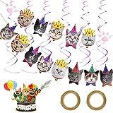 20 piezas Banner de Cara de Gato CINVEED Banner de Cumpleaños de Gato Banner de Cara de Gato para Fiestas Temáticas de Gatito Pancartas de Fiesta de Gatito Cachorro y Gato Cumpleaños