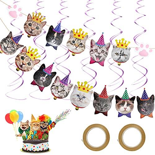 CINVEED Katze Gesicht Geburtstag Banner Katzenthema Geburtstagsbanner Niedlichen Kätzchen Gesicht Deko Girlande mit Spirale für Cat Theme Kinder Geburtstagsfeier Party Baby Shower