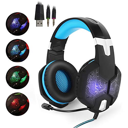 YYKJ Gaming Headset with Microphone LED Light, 3.5mm, Noise Reduction, Stereo, for Computer PC Blue