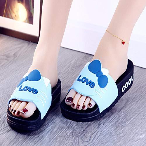 TDYSDYN Zapatillas de baño Unisex,Zapatos de Plataforma con Plataforma, Sandalias de baño Antideslizantes y Zapatillas-Azul_36