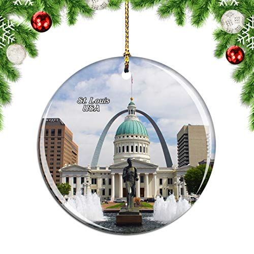 Weekino USA America Gateway Arch Old Courthouse St. Louis Christmas Xmas Tree Ornament Decoration Hanging Pendant Decor City Travel Souvenir Collection Double Sided Porcelain 2.85 Inch