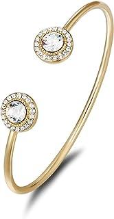 Mestige Women Glass Golden Ayla Bangle with Swarovski Crystals