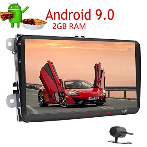 Cámara de Copia de Seguridad Android 9.0 2 GB 4 Núcleo Doble DIN Car Player GPS Navi 9Inch Pantalla táctil Radio estéreo En el Tablero de la Cabeza Autoradio Bluetooth Pantalla Enlace SWC para VW