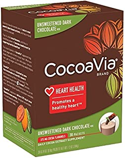 CocoaVia Beverage Mix Unsweetened Dark Chocolate - 0.27 oz Each/Pack of 30