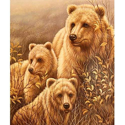 Pintura de diamante 5D, diseño de oso amarillo y marrón, para decoración del hogar, 20 x 30 cm