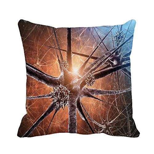 N\A Kissenbezug Gehirn Virale Enzephalitis 3D Immun Neuron Anatomie Meningitis Mikroskopischer Kissenbezug Home Dekorativer quadratischer Kissenbezug Kissenbezug