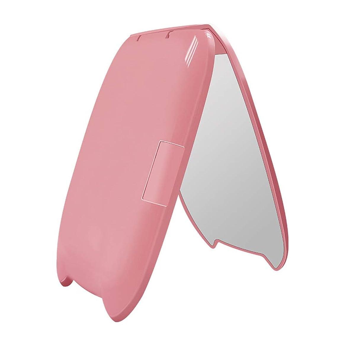 殺す邪魔する密ミニLed化粧鏡ポータブル猫耳光小さな化粧鏡2倍拡大折りたたみ発光美しさギフトミラー