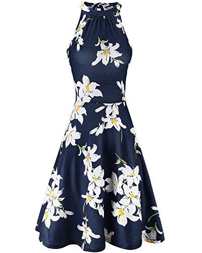 OUGES Women's Halter Neck Floral Summer Casual Sundress(Floral-7,S)