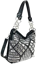 Black Geometric Gem Sparkle Purse