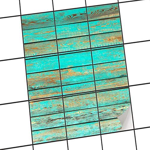 Piastrelle Adesivo 20x 15cm 1x 1Design Wooden Aqua (, Motivo & Ornamenti) Pellicola Adesiva Cucina Bagno