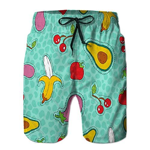 jiilwkie Shorts de baño para Hombre Shorts de Playa Camiones de natación de Secado rápido patrón de Icono de Parche Dibujado a Mano de Frutas y Verduras L