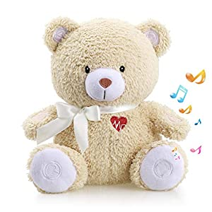 Honey Bear Baby Sleep Soother by BEREST- Mom's Heartbeat Sound White Noise Machine Infant Slumber Buddies Bear Toy Sleeping Aid, Nursery Decor with Baby Cry Sensor, Night Light, 4 Sounds Therapy
