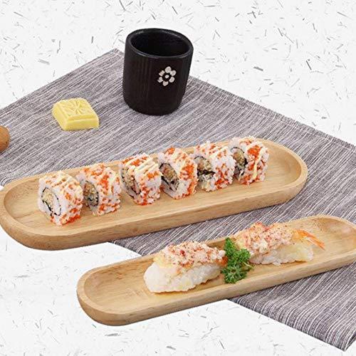 Qingsb Dim Sum Schotel Japanse Stijl Houten Dienblad Log Snacks Gedroogde Fruitschaal Sushi Bord Klein Groot Restaurant Huishoudelijke Producten, 10.63x2.36x0.79inch