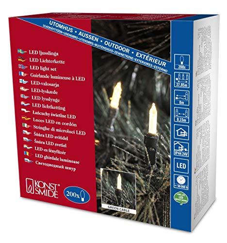 Konstsmide 6070-100 LED Minilichterkette / für Außen (IP44) / 24V Außentrafo / 200 warm weiße Dioden / grünes Kabel