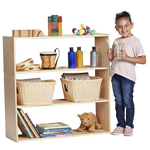 ECR4Kids Birch Streamline Storage Cabinet - Hardwood Classroom & Home Storage Solution for Kids - 3-Shelf Without Back, 36' H