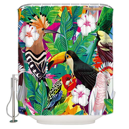 YEDL Tropische Pflanzen Tukan Duschvorhang Badvorhang Polyester Stoff Badvorhang Waschbar Home Bad Dekor 180 × 180Cm