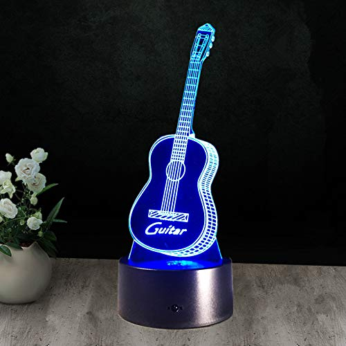 3D nachtlampje gitaar 7 kleuren afstandsbediening touch slaapkamer lamp hoofddecoratie, kinderen kerstcadeau