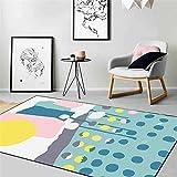 Alfombra Fácil de Limpiar Diseño Moderno sofá alfombras Alfombra Suave Moderna de diseño de Graffiti Minimalista Azul Amarillo Rosa Decoración hogareña Alfombras 200*300cm