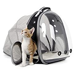 TRANSPARENT BUBBLE FRONT + EXPANDABLE BACK. This cat backpack carrier increase your pet's visual space via front transparent hard shell, gives more room and play time inside by expandable back panel. The real ever bigger expandable cat backpacks. BRE...