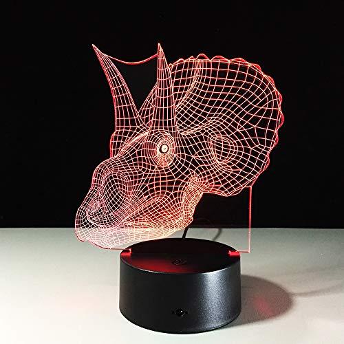 Preisvergleich Produktbild XKALXO Kreatives Geschenk Triceratops Dinosaurier 3D Nachtlicht Usb Led Tischlampe Haushalt Schlafzimmer Schlaf 7 Farben Nachtlampe Für Kinder Led Nachtlichter