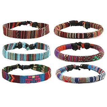 HZMAN Mix 6 Wrap Bracelets Men Women Hemp Cords Ethnic Tribal Bracelets Wristbands  Mix 6 Wrap