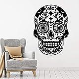 Tianpengyuanshuai Adhesivo de Pared Horror Style Skull Symbol Patrón Mexicano Vinilo Decorativo decoración 50X72cm