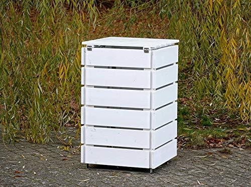 1er Mülltonnenbox / Mülltonnenverkleidung 120 L Holz, Grau Geölt - 4