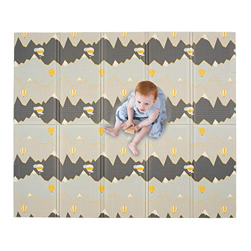 JumpOff Jo – Large Waterproof Foam Padded Play Mat for Infants, Babies, Toddlers, 8+ Months, for Play & Tummy Time, Foldable, 70 in. x 59 in, Double-Sided Design: Hot Air Balloons & Yellow Rainbow