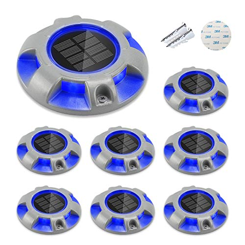 CHINLY Solar Driveway Lights LED Deck Dock Light Step Lighting Waterproof for Outdoor Pathway Garden Ground Yard Walkway Stair Markers 8pcs (Blue)