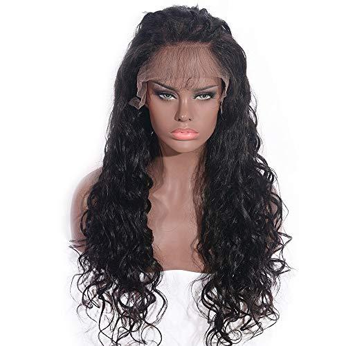 Vrouwen haar pruik Braziliaanse Pruik Human Hair 360 Frontaal Kant pruik 100% Onverwerkte Diepe Golf krullend pruik Menselijk haar pruik Gebleekte Knopen Haar stukken (Color : Black, Size : 12inch)