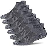 APTYID Men's Performance Cushion Ankle Athletic Running Socks, Grey, Sock Size 10-13, 6 Pairs