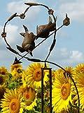 Pommerntraum ®| Windspiel Gartenpendel Gartenstecker Vogelwippe Gartendekoration Garten Kunst verliebte Vögelchen Windspiel Vögel