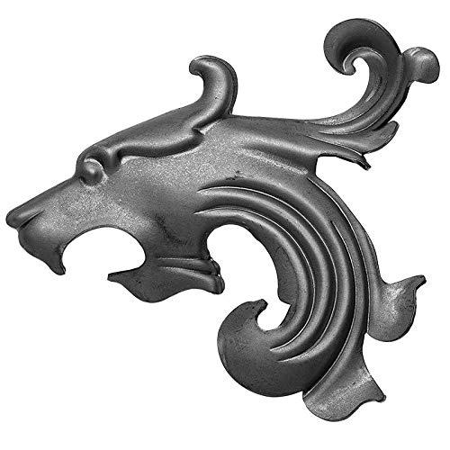 UHRIG ® - Leewadee - Adorno de hierro forjado a la izquierda de acero para rejas de ventanas, vallas, etc. Hierro forjado