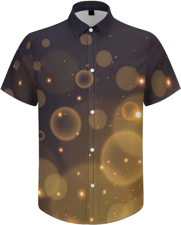 Men's Regular-Fit Short-Sleeve Printed Party Holiday Shirt Golden Circle Sparkling