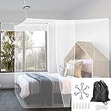 BUZIFU Moustiquaire Lit 1 Place Simple Rectangulaire Maille Fine avec Kit de Installation Complet Crochets Corde Sac de Rangement pour Protégez Votre Famille des Moustiques en Été (2 * 1 * 1.9 m)