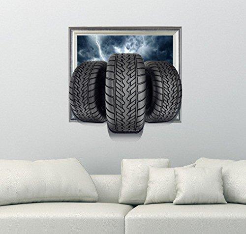 Wandsticker 3D (Reifen-) Stereo Wandsticker Tapete Schlafzimmer Wohnzimmer Tv Sofa Hintergrund Selbstklebendes Papier Ohne Kleber (58 X 59)