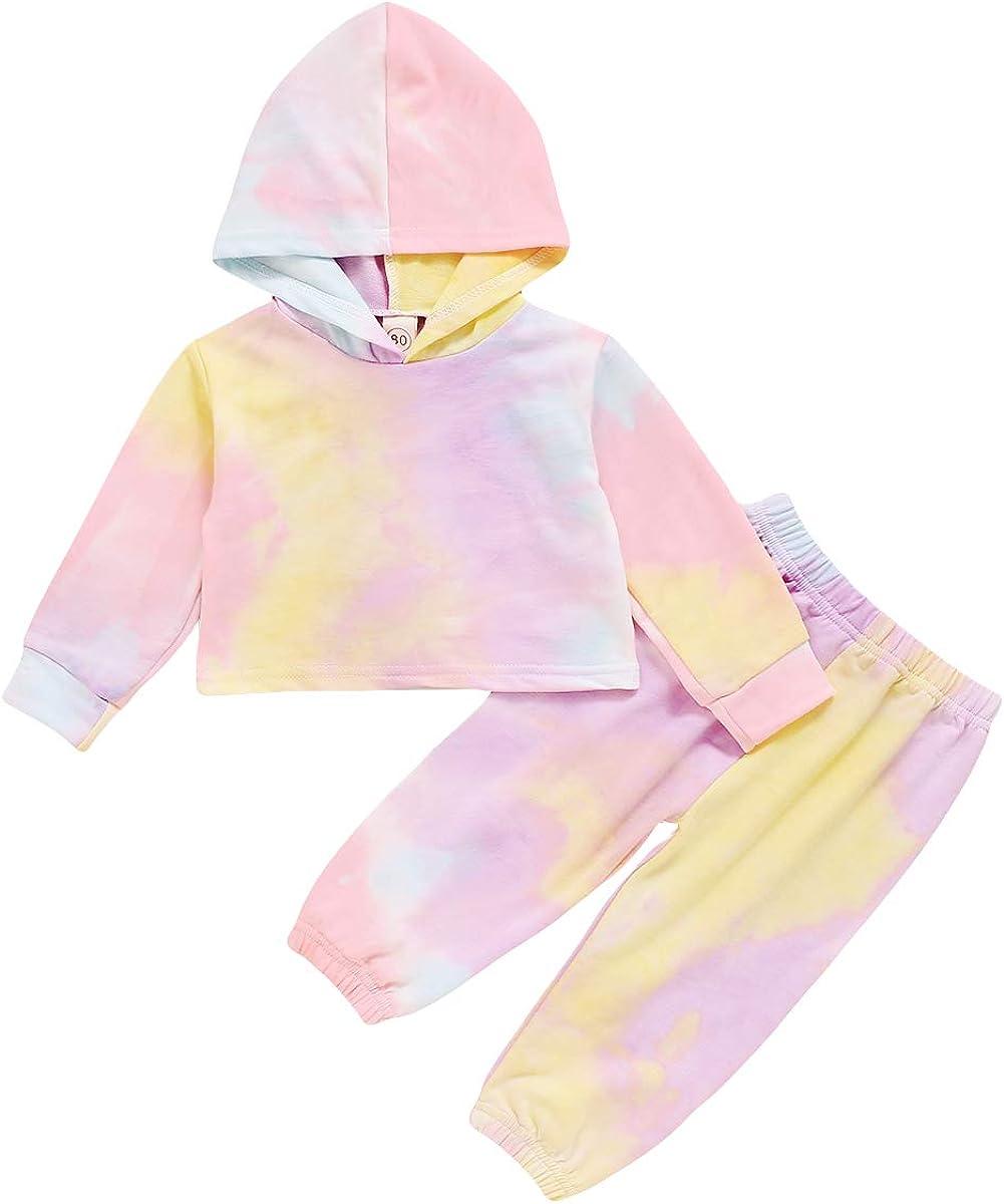 Infant Baby Girl Clothes Long Sleeves Pocket Tie-dye Hooded Sweatshirt Top+Elastic Waist Long Pants 2PCS Outfit Set