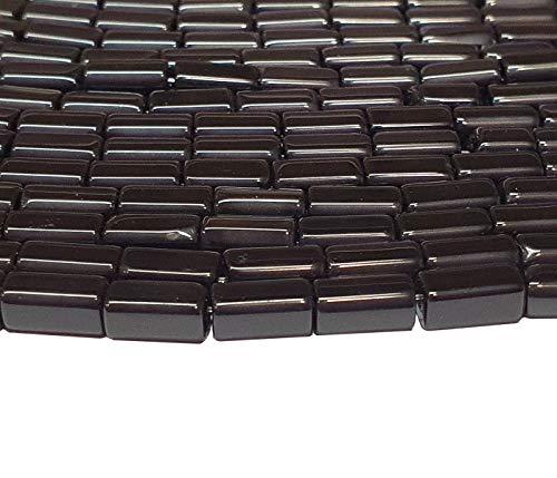 Onyx Halbedelstein Strang Schwarz Perlen Poliert und Matt Set Halbedelstein Strang 4/6/8/10 mm Perlenstrang Perlenkette (8x4 mm Rechteck Poliert)