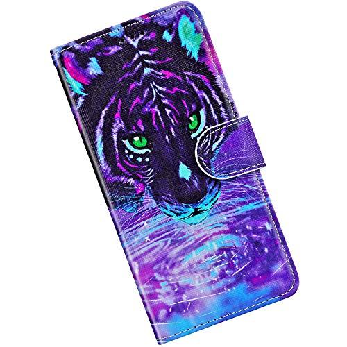 Qjuegad Cover Compatibile con Samsung Galaxy A5 2016 Cover per Premium [Chiusura Magnetica] in Pelle [Motivo in Dipinta] Supporto Morbido TPU con [Slot per Schede] Cover per Cellulare,Tiger