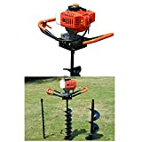 52cc 2-Stroke 2.4HP Gas Powered Post Hole Digger Borer Ground Fence Drill Single Cylinder Drill + 4' 6' 8' Bits (2.4HP)