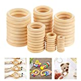 Fuyit 60Pcs Wood Rings, 6 Size Unfinished Solid Natural Wooden Ring Smooth Wood Circles for DIY Crafts, Macrame Decor, Plant Hanger, Toy & Jewelry Making