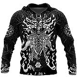 Sudaderas con Capucha del Tatuaje de Viking Odin, Sudadera Impresa en 3D Harajuku Unisex Chaqueta Informal Jersey,Hoodies,L
