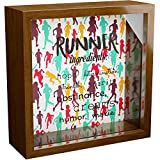 Gifts for Runners | 6x6x2 Wooden Shadow Box Ideal for Running | Memory Frame Gift for Runner | Ideal for Women or Men Athletes | Present Idea for Full or Half Marathon | Perfect for Coach Friend FEMA