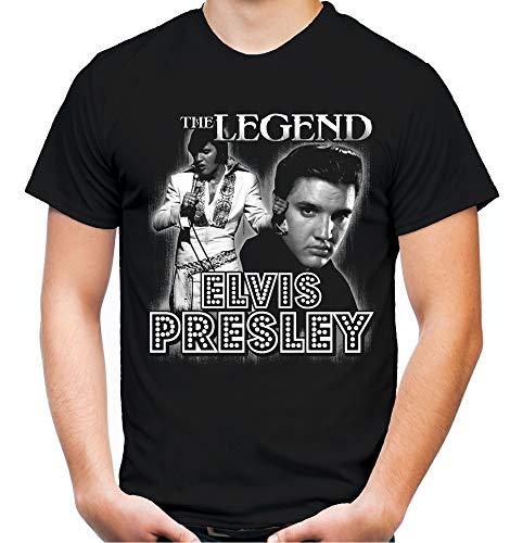 Elvis Presley Männer und Herren T-Shirt | Musik The King Retro Vintage | M2 (3XL, Schwarz)