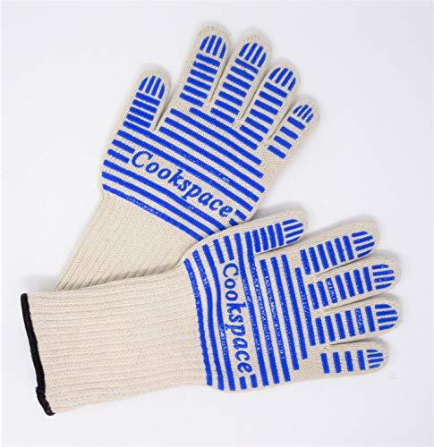 Escudo térmico® de agarre de silicona antideslizante, protector de calor de horno de larga de la prueba de fuego con guantes de agarre de los dedos de 5, resistente a la llama (1 par) Nomex y Kevlar capa externa, forro de algodón, algodón, Small / Medium 34cm