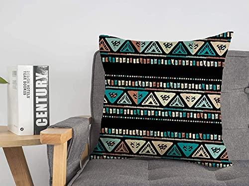 Funda de almohada decorativa de poliéster con rayas de colores indios, bocetos tribales, africanos, aztecas, borde negro, zag, dibujo en zig, geométrico, zigzag, suave, cuadrado, cojín, para sofá, si
