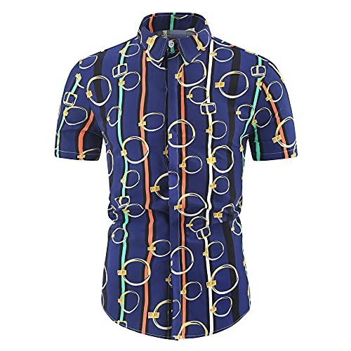 Camisa Hombre Transpirable Entallada Estampado Animal/Rayas Hombre Camisa Playa Botones Exquisitos Verano Cuello Kent Camisa Casual Manga Corta Vacacione Hombre Camisa Hawaiana G-7 3XL