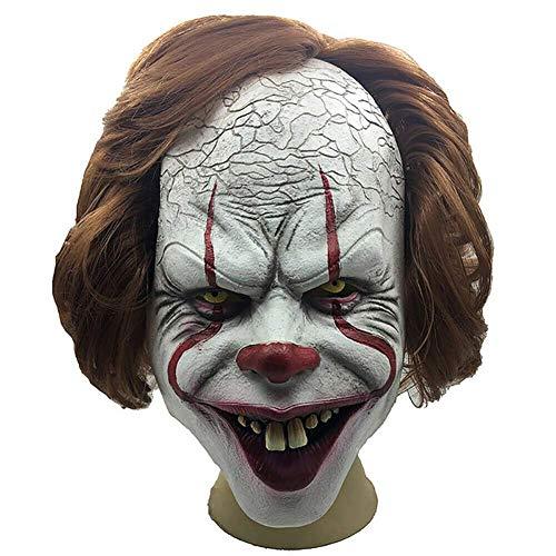 Reuvv Terror Payaso Máscara Completa Halloween Cosplay Traje Horror Props Ideal para Carnaval Halloween - Disfraz Adulto - Látex, Unisex
