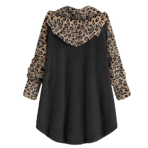 Hirolan Lang Damen Kapuzenpullover Winterjacken UnregelmäßIg Leopard Sweatshirt Mit ReißVerschluss Herbst Winter Hoodies Jacke Mantel Streetwear Umhang Mantel Frauen Trenchcoat Outwear