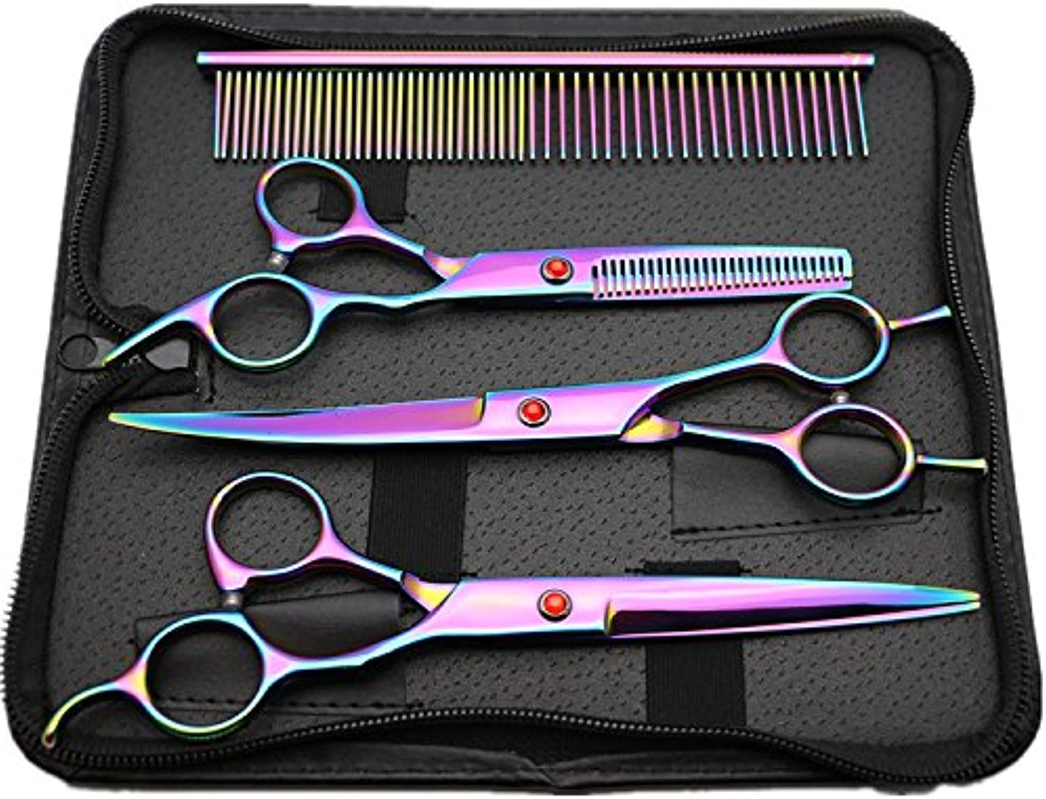MTTLS colorful Pet Dog Grooming Scissors StraightEdge Shear Curved Shears Curved Shears Stainless Steel Blade Pet Hair Grooming Scissors Set